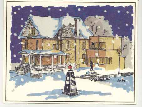 An artist's rendering of Banting House National Historic Site, the image on our Modern Holiday Card