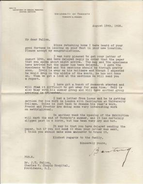Letter from Dr. Banting to Dr. James T. Fallon