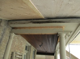 Work on the bulkhead will restore the look of the porch to its original condition.