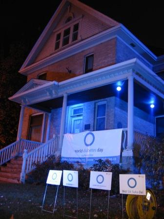 Banting House lit up in blue for a past World Diabetes Day.