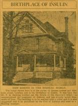A newspaper photo of the porch and facade of Banting House. The roof and chimney are visible, as well as part of a tree at the front of the house.