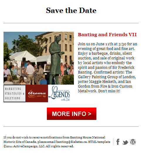 """A """"Save the Date""""  invitation describing Banting and Friends VII with a picture of a crowd behind a statue of Sir Frederick Banting and with three logos at the bottom of the picture. There is also a button that would have taken you to the Facebook event page."""