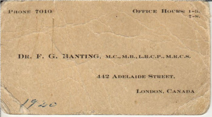 A brown business card with Dr. Banting's contact information on it.