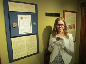 Holding the Nobel Prize replica after its fall!