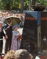 Her Majesty Queen Elizabeth The Queen Mother kindles the Flame of Hope during her visit to Banting House.