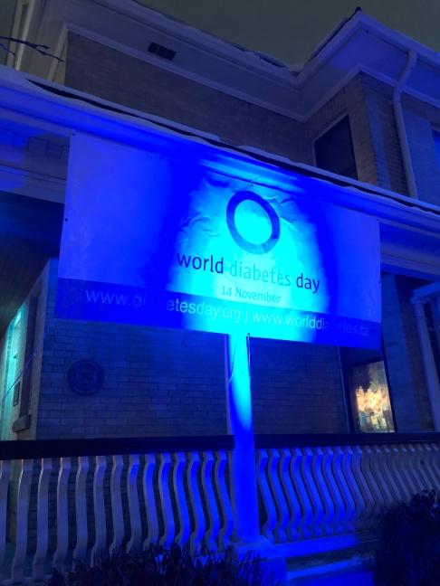 World Diabetes Day sign lit up blue