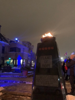 Banting House National Historic Site of Canada lit up blue