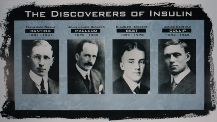 A graphic featuring the four discoverers of insulin, Frederick Banting, John Macleod, Charles Best, and James Collip.